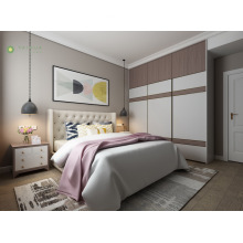 Modern Furniture Melamine Bedroom With Beige PU Cushion